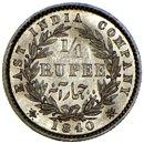 BRITISH INDIA. Victoria. 1/4 Rupee 1840. $1 Start N/R!